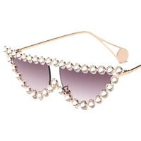 2019 أزياء الماس الإطار القط العين النظارات النساء الفاخرة خمر مثلث ظلال حجر الراين نظارات للإناث المعادن uv400