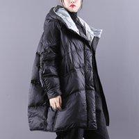 Janveny manteau d'hiver vers le bas Femmes Puffy caraco Épaissir chaud 90% de canard blanc veste vers le bas Femme Parkas Hiver Manteau Fluffy