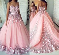 아랍어 핑크 Quinceanera Dresses 2020 Sweetheart Neck Sweep Train 3D Flower Appliques Prom 파티 가운 달콤한 16 Vestidos de Quinceñera