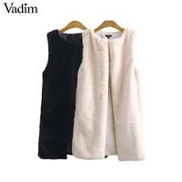 Vadim donne inverno faux fur maglia lunga spessore caldo gilet solido tasche giacca senza maniche casual capispalla casual chic MA011