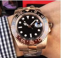 2019 Nuevo modelo Cerámica Bisel Correa de acero inoxidable GMT II Cerachrom Negro - Marrón bisel 40mm Automático de oro rosa para hombres Relojes Relojes