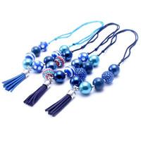 Il più nuovo regalo della festa di compleanno della collana della nappa regolato colore della marina per le ragazze dei bambini Bubblegum in rilievo del bambino scherza i gioielli robusti della collana
