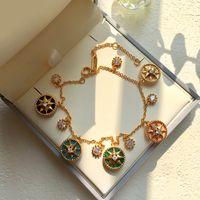 Joyería de moda tendencia de la moda afortunada ocho de la estrella de la mandala Placa Cinco Flor Braceletbangle diamante para la mujer