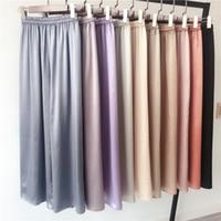signore pantaloni di seta di seta 2020Summer perdono signore casuali dell'alta vita più il formato dei pantaloni a gamba larga della vita elastica di fascia alta X88 donne