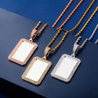 Luxury Bling Zircon Hip Hop Men Women Necklaces 18K Gold Rho...