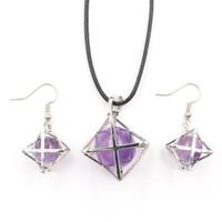 10 set Merkaba Symbol Symbol Orecchini Star Point Molti colori Pendente in pietra al quarzo Spiritual per le donne gioielli placcati in argento