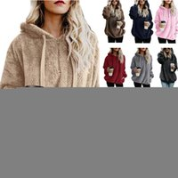 Tamaño más Mujeres Sherpa Fleece Pullover suelta el suéter caliente sudaderas con capucha de gran tamaño Otoño Invierno capa encapuchada Tops S-5XL C92709