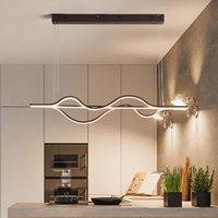 Modern Minimalist LED Alüminyum Kolye Işık Kahve Kaplama Kolye Işık Oturma Odası Yemek Mutfak Oda Için