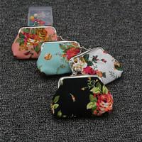 Moda Hot Vintage flor bolsa da moeda titular chave da lona bolsa hasp pequenos presentes saco bolsa de embreagem ST311