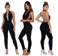 d21ca770e4e New Arrival. Hot Sale New Women sexy Black V Neck Backless Hanging neck  Jumpsuit Rompers trousers Fashion ...