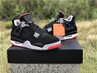 2019 Lançamento Air OG 4 Bred Homens tênis de basquete Preto Cimento Gray Summit Fire Red 308497-060 Authentic Sports Shoes Com Box
