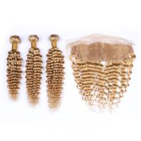 Extensiones de cabello humano con ondas profundas de color rubio miel con encaje Cierre frontal # 27 Color Fresa Rubia Paquetes de pelo rizado profundo Teje