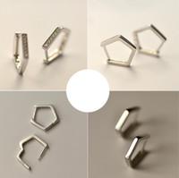 S925 joyería de plata de ley pendientes hexagonal clip de oreja pendientes simple para mujeres de la moda caliente