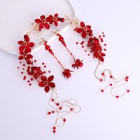 Hot Chinese Red Crystal Flower Beads Long Tassel Hairband He...
