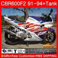 화이트 블루 HONDA CBR 600F2 CBR FS 600 1,991 1,992 1,993 1,994 40HC.64 CBR600FS 600cc의 CBR600 F2 F2 CBR600F2 91 92 93 94 바람막이 바디 + 탱크