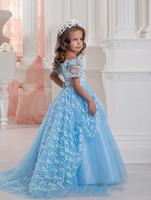 Короткие рукава Синие платья для девочек-цветочниц Платья для девочек с кружевной юбкой Бальное платье Принцесса Первое причастие
