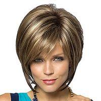 앞머리 금발 브라운 두 컬러 짧은 가발 무료 배송과 여성 합성 머리가 발 밥 이발 픽시 스타일