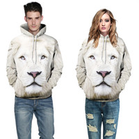 3D White Lion Lover Couple Serials digital printing hooded s...