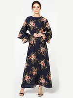 b0a9336d0f9bc Wholesale dresses malaysia online - Muslim Malaysia Floral Long Dresses  Spring Summer Women Flare Long Sleeves