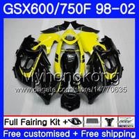 Lichaam voor Suzuki GSXF 750 600 GSXF750 geel zwart Nieuw 1998 1999 2000 2001 2002 292hm.57 GSX 600F 750F KATANA GSXF600 98 99 00 01 02 Kuip