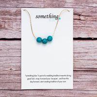 Collar de la tarjeta de mensaje mujeres del regalo de la turquesa Wish tarjeta collares pendientes Algo azul Tradición de la boda joyería collar de buena suerte