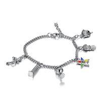 Nuova moda acciaio inossidabile 316L ordine oro d'argento di bracciali a catena stella orientale massonici freemason OES fascino penzolare bracciali per la signora