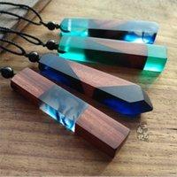 Ожерелье Vintage Wood Смола акриловой Подвески для мужчин Женщины Нерегулярной Подвески Woven Rope цепь Заявления ювелирных изделия подарок DHL
