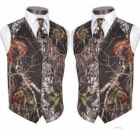 Custom Made Modest Camo Groom Gilets Vestes De Mariage Rustique Tronc D'arbre Feuilles Printemps Camouflage Slim Fit Gilets Pour Hommes