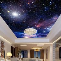 Encargo de la foto 3D del papel pintado del cielo estrellado dropship techo murales de pared cubierta decoración de la sala dormitorio Fresco del techo del piso del papel pintado del rollo