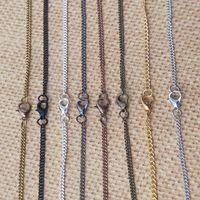 Bronze / Argent / Noir / Or / Cuivre Rouge / Noir Gunmetal Collier chaîne de montre de poche de la chaîne avec 100pcs / lot de homard fermoir 2mmx3mm 8color