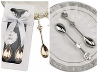 (40pcs / много = 20Boxes) Свадебные подарки милостей Золотая Корона Ложка Благоприятная для Baby Shower партии сувениры и подарки Party Guest