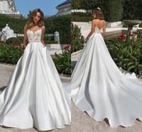 Tasarım Toptan Saten Düğün Dreses Bir Çizgi Illusion Top 2020 Sheer Boyun V Kesim Backless Gelin Kıyafeti Cepler Ile Dantel Uzun Tren Vestidos