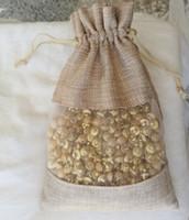 واضح الكتان الكتان الرباط حقيبة 15x22 سنتيمتر ماكياج الحقائب تغليف المجوهرات هدية