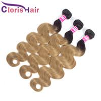 컬러 꿀 금발 인간의 머리카락 확장 원시 버진 인도 바디 웨이브 번들 3PCS 저렴한 1B (27)는 두 톤 금발 물결 모양의 옹 브르는 비교 되죠
