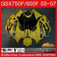 Тело для Suzuki Katana GSXF750 GSX600F GSX750F GSXF600 3HC.62 GSXF 750 600 03 04 05 06 07 2003 2004 2005 2006 2007 Light Yellow Carting Kit