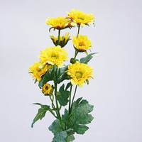 8heads longue tige Gerbera Chrysanthème soie + plastique Fleurs artificielles Flores Automne jardin Décorations Plantes Faux