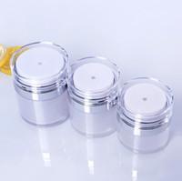 15 30 50 G / ML İnci Beyaz Akrilik Havasız Kavanoz Yuvarlak Vakum Krem Kavanoz 0.5oz 1oz 1.7oz Kozmetik Ambalaj Pompa Şişeler