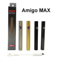 Amigo Vape Pen Batterie 380MAH MAX Button Vorwärmen Batterievariable Spannung Wiederaufladbare Unterseite USB-Ladegerät E Zigaretten 510 Gewindebatterien Verpackungsbox