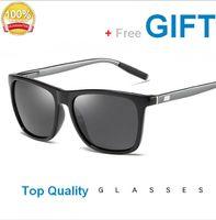 Unisex 편광 된 알루미늄 선글라스 빈티지 일요일 안경 남자 여자 사각형 사각형 프레임 금속과 전술 gls005