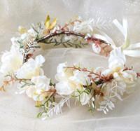 Kızlar çiçekleri 2020 yeni simülasyon çiçek taç saç bandı Kırsal tarzı şerit kravat prenses Çim Örgü eli çiçek wreathA1790 yapılan çelenk