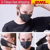 Mascarilla anti-polvo de stock con válvula PM2.5 Filtros de respiración Ciclismo Cara Boca Mascarillas de algodón Respirador Lavable Reutilizable Anti Fog Haze Adulto