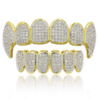Hip Hop Grillz Luxury Glaring Zircon Micro Pave Dental Grill...