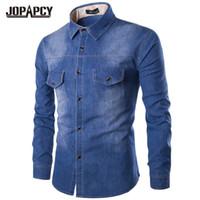 남성 캐주얼 셔츠 브랜드 남성 청바지 셔츠 코튼 얇은 긴 소매 따뜻한 데님 단일 브레스트 카우보이 카메인 Chemise Homme MXB0369