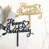 2020 Acrílico feliz cumpleaños de la torta del corazón del oro de la fiesta de cumpleaños de los niños Topper Para la torta que adorna fuentes de la ducha de bebé