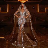 Sexy Dubai arabo di lusso sirena da sposa abiti da sposa cristalli rhinetoni sweep treno scintillante abito da sposa abiti da sposa abiti da sposa abito e velo