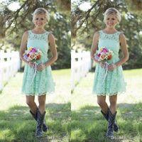 2021 Country Mint Green Brautjungfernkleider Kurzes Mini Spitze Abendkleid Für Junior Brautjungfer Knielangen Hochzeit Kleider