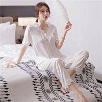 Femmes Sexy Pyjama costume satin Nighrwear Accueil Vêtements dentelle blanche Pyjama Ensemble de nuit Nouveauté Homewear Lingerie de nuit intime