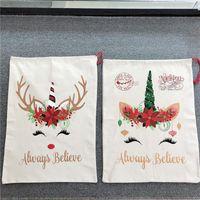 크리스마스 산타 가방 귀여운 큰 캔버스 사탕 선물 자루 클로스 가방 유니콘 Drawstring 바구니 08