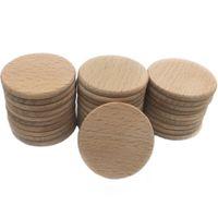 """Monedas de madera 100 unid Discos de madera Círculos """"Diámetro de 37 mm Sin terminar Rebanadas de madera de haya Perlas de bricolaje Cuidado de madera mordedor"""