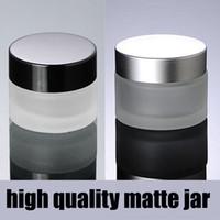 15g 20g 30g 50g 100g fosco prata / preto tampa de vidro recipientes cosméticos frasco de creme, garrafa de vidro fosco para embalagens de cosméticos